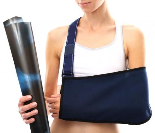 Patient with sling for Shoulder Separation (AC Separation)
